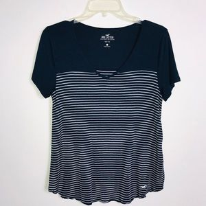 Hollister Navy and White Striped Top